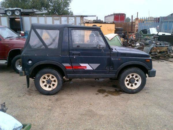 Left hand drive Suzuki SJ413 Petrol 4 x 4 Jeep convertible. Year: 1992