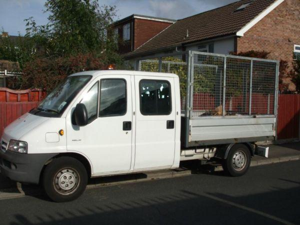 Citreon relay 7 seat crewcab caged tipper, 64,000 miles.
