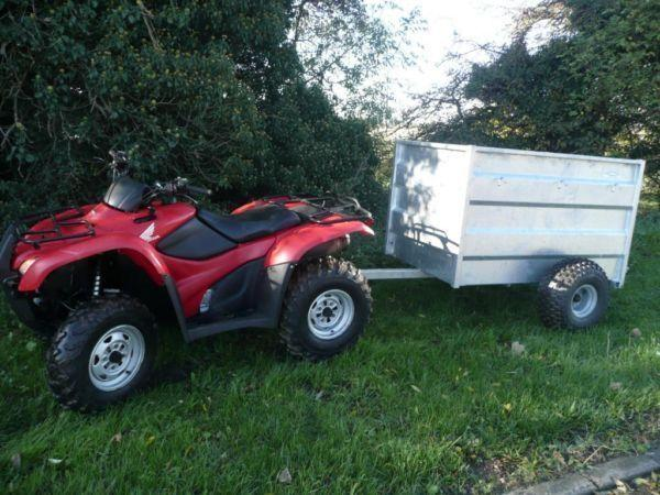 HONDA 420 AT IRS 2009 QUAD ATV FARM WITH VER LOW HOURS + GRAHAM EDWARDS TRAILER