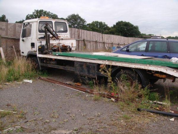 DAMAGED LEYLAND DAF 7.5 ton RECOVERY TRUCK with HIAB and WINCH