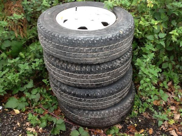 Set of 4. 14 inch transit alloy wheels with Michelin 195/75/14 less than half worn tyres